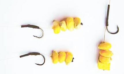 как насадить кукурузу на крючок для ловли карпа